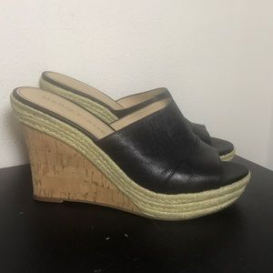 Marc Fisher open toe black cork wedges size 8.5